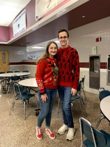 Tevon Kerr-Hornbaker and Gabby Goodman on Ugly sweater day!