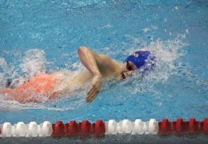 Senior Mason Dillon swimming for Lower Dauphin.