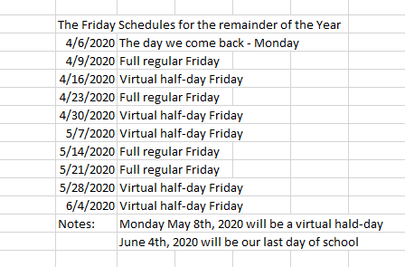 The Friday schedule for the remainder of the year