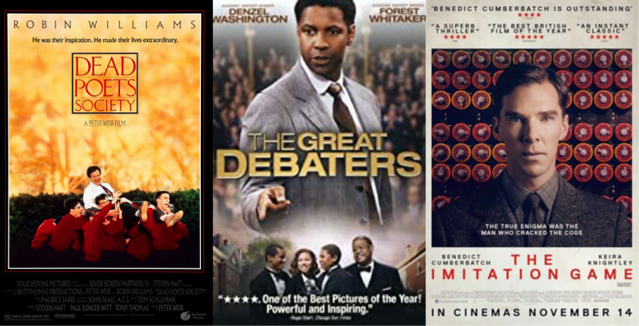 Left to Right: Dead Poets Society; The Great Debaters; The Imitation Game