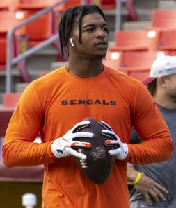 Rookie wide receiver JaMarr Chase before a game with the Cincinnati Bengals in 2021.