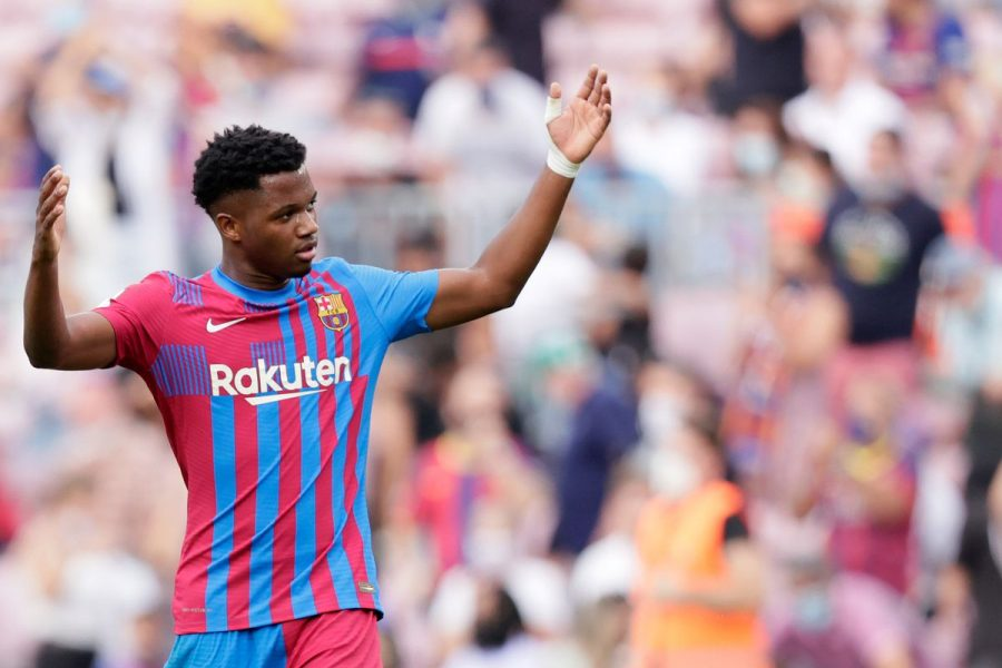 Ansu Fati during his first game back from injury as a member of FC Barcelona.