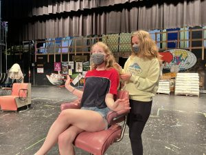 Alicia Jones (left) at a Steel Magnolias rehearsal with co-star Amber Abela (right)